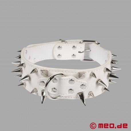 Collier à pointes blanc pour chien humain