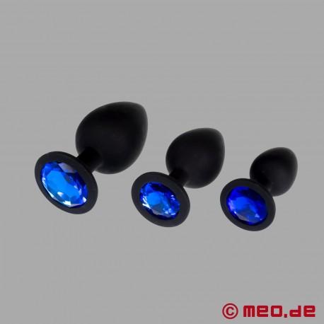 Bijoux Anal - Kit de 3 plugs anaux de luxe en silicone sertis d'un cristal
