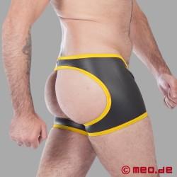 Fetisch Neopren – Neopren Boxer– hinten offen – schwarz/gelb