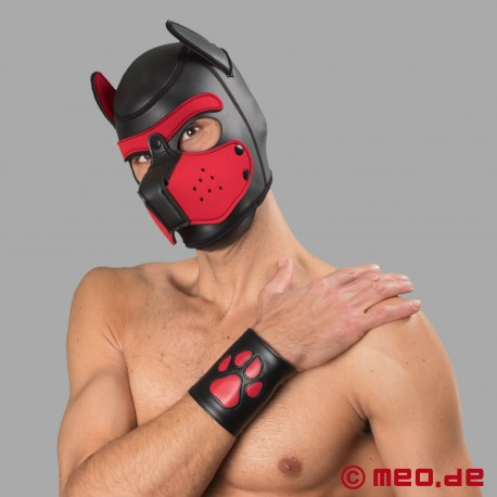 Leather puppy cuff with paw - Leather paw puppy gauntlet – black/red