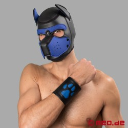 Leather puppy cuff with paw - Leather paw puppy gauntlet – black/blue