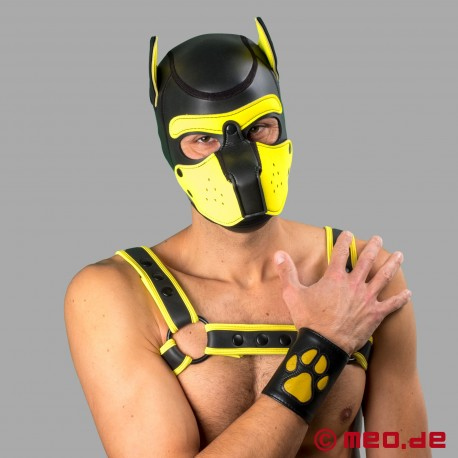 Leather puppy cuff with paw - Leather paw puppy gauntlet – black/yellow