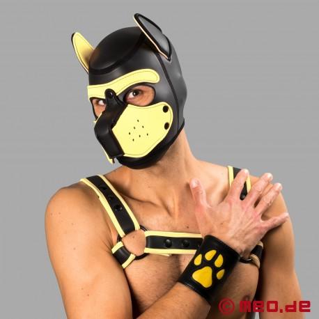 Manchette Puppy en cuir avec pattes – noir / jaune