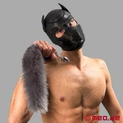 Bad Puppy butt plug with silver fur tail - Cosplay & Human Pup Play