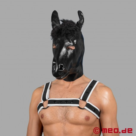 Latex horse mask for the human pony