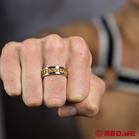 MEO Chaîne d'amour finger ring in silver and gold
