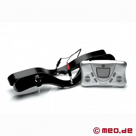 Lockable testicular restraint with e-stim - Locking Humbler