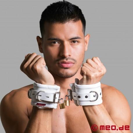 Abschließbare weiße Handfesseln aus Leder CASABLANCA