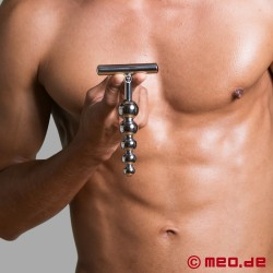 Stainless steel anal dildo - Alpha Male Stimulator with five balls