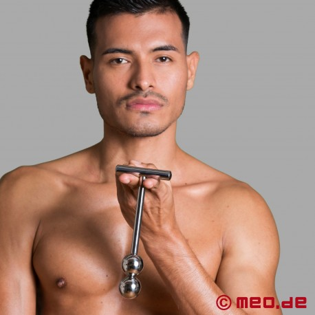 Stainless steel anal dildo - Alpha Male Stimulator with two balls