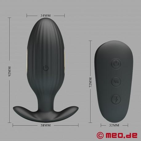 Plug anale BDSM 24/7 con stimolazione elettrica, vibrazione e telecomando