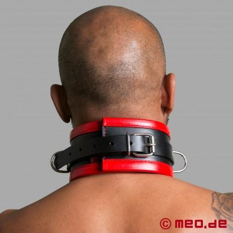 Black/Red Leather Bondage Collar