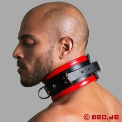 Schwarz / Rotes BDSM Halsband aus Leder