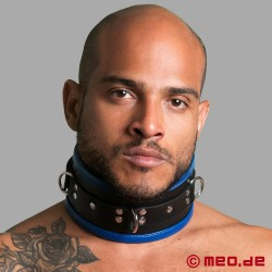 Black/Blue Leather Bondage Collar