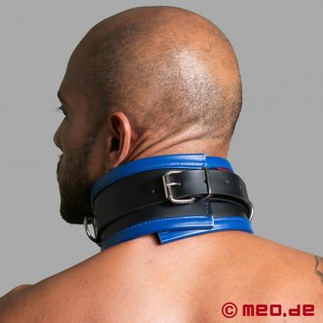 Collare di bondage in pelle nero/blu