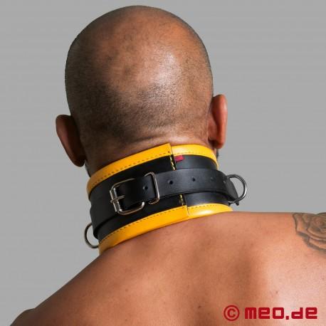 Black/Yellow Leather Bondage Collar
