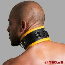 Black/Yellow Leather Bondage Collar