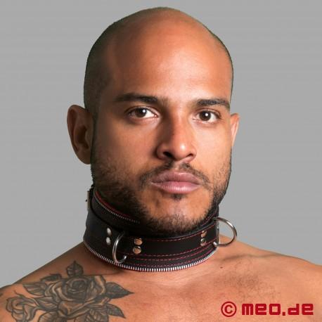 Collare di bondage in pelle nero/rosso