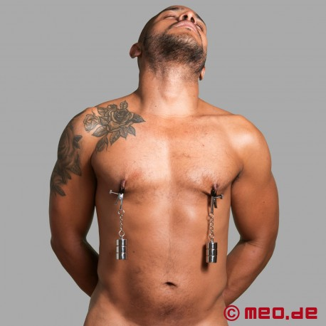Nipple clamps with screw weights