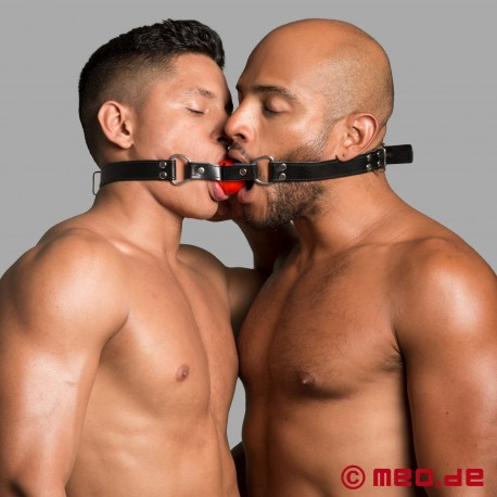 Bâillon pour baiser – Bâillon double à balle rouge pour 2 esclaves